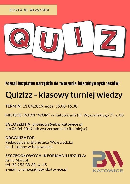 Quizziz - plakat informacyjny